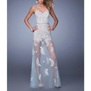 La Femme Grey & Powder Blue Tulle Romper Gown